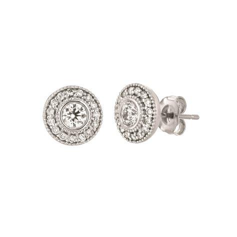 Bezel-SetDiamond-Earrings