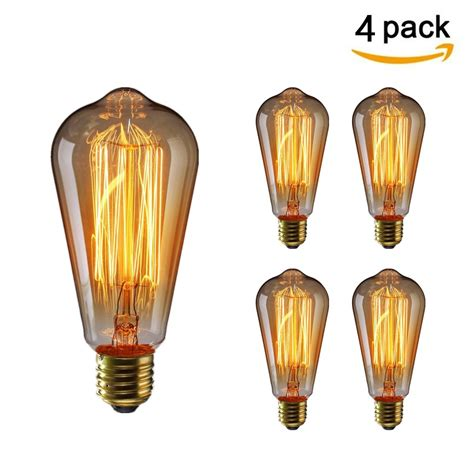 KINGSO 12 Pack E27 Base 60w Vintage Edison Bulb Dimmable ST64 | Gps Store