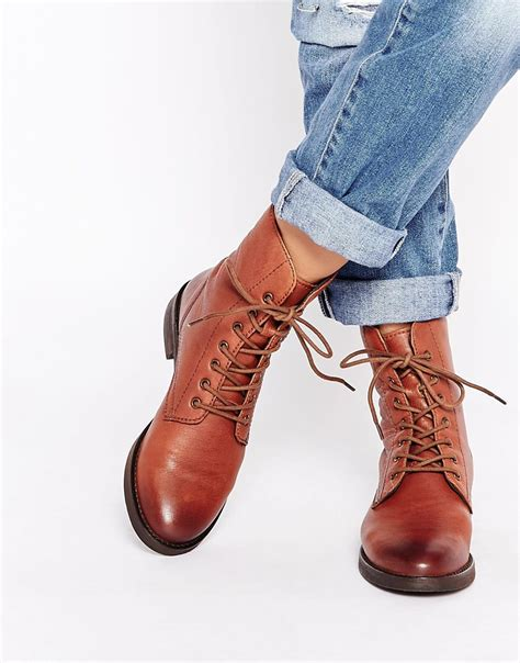 Leather Lace Ankle Boots