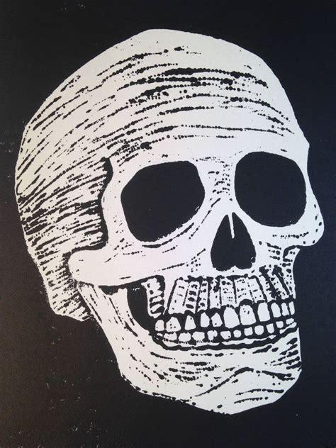 Linoleum Print Skull