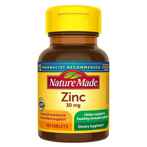 Nature Made Zinc 30 mg 100 Counts Help Support a Healthy Immune System | Gps Store