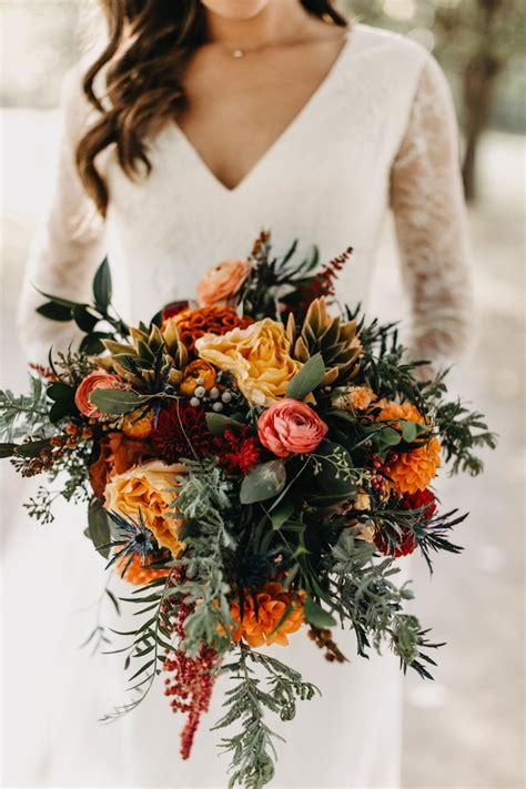 Orange-Fall-Wedding-Flowers-Bouquet