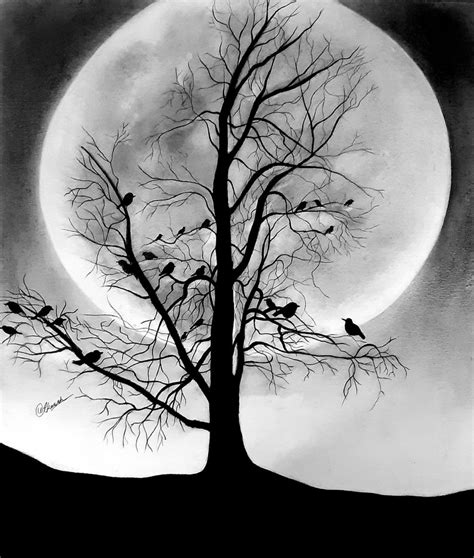 Penicle Drawing Tree With Moon