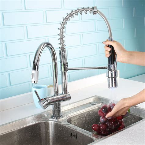 Pull Down Kitchen Faucet Swivel Spout Single Hole Sink Mixer Taps Deck Mounted | Watches Store Online Reviews