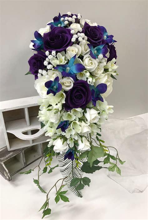 Purple-CascadingWedding-Bouquets