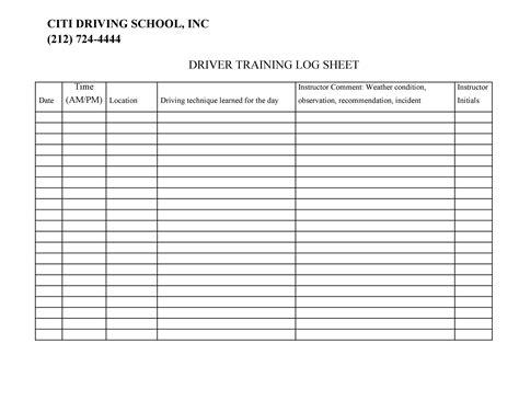 SampleDriver-Log-Sheet