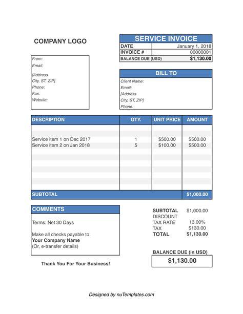 Service-Invoice-TemplateFree