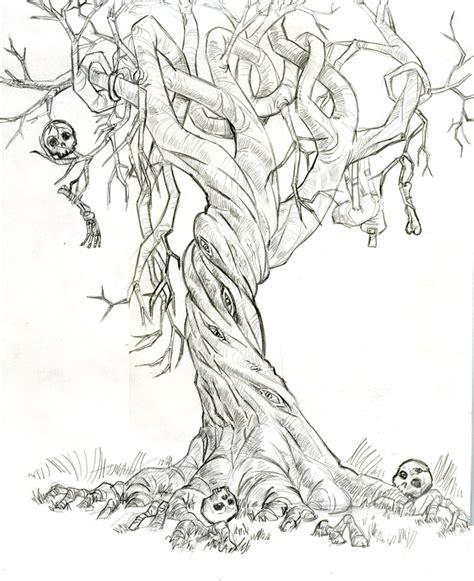 Twisted Tree Drawing Skull